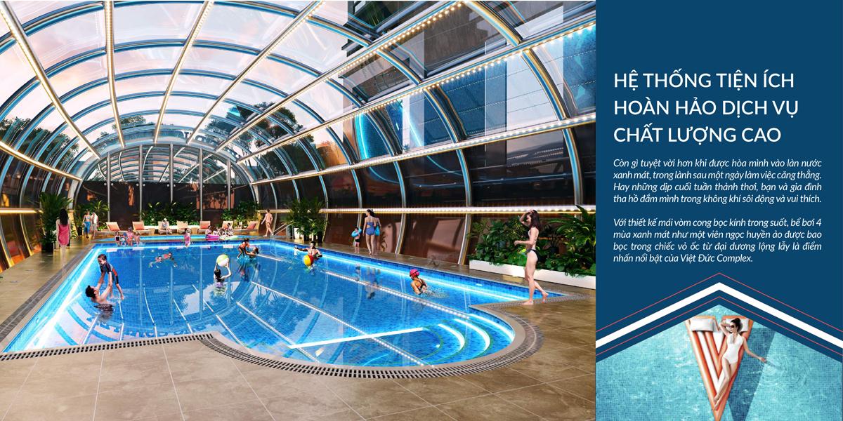 Hệ thống bể bơi tại Việt Đức Complex