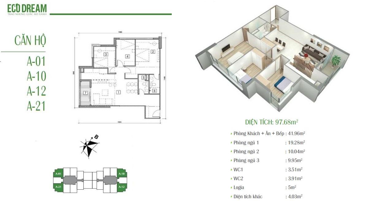 Căn hộ A chung cư Eco Dream