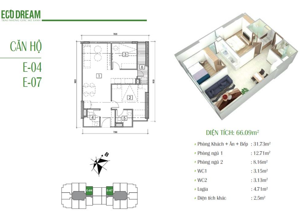 Căn hộ E chung cư Eco Dream