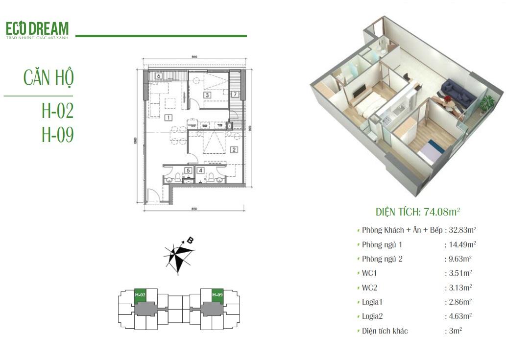 Căn hộ H chung cư Eco Dream