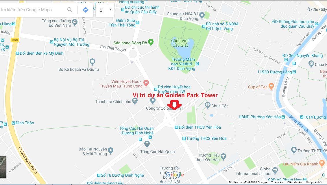Vị trí chung cư Golden Park Tower