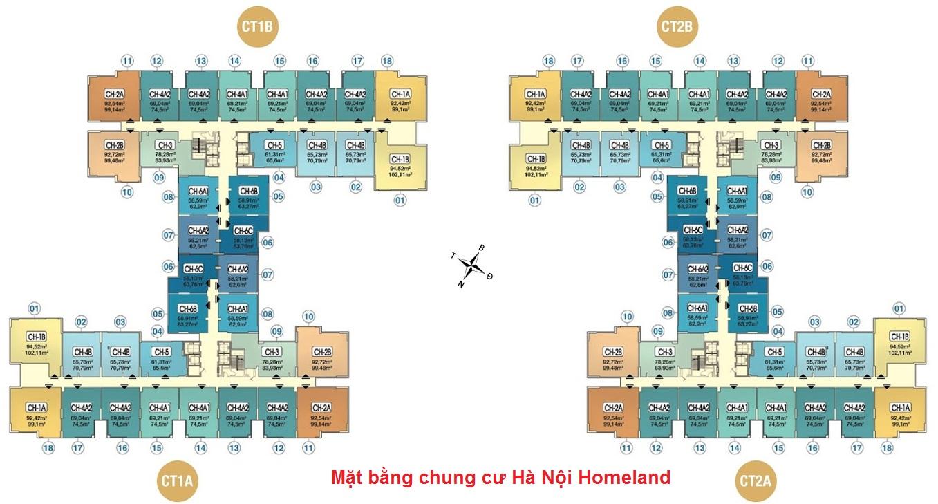 Mặt bằng chi tiết căn hộ dự án chung cư Hà Nội Homeland