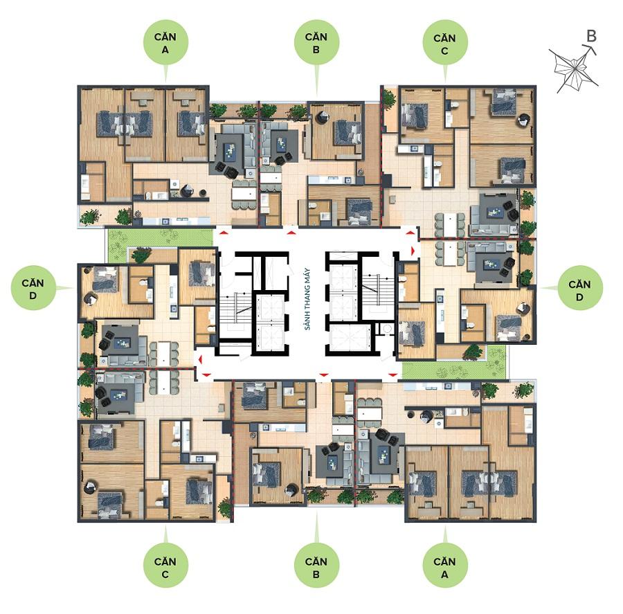 Mặt bằng chung cư Bohemia Residence
