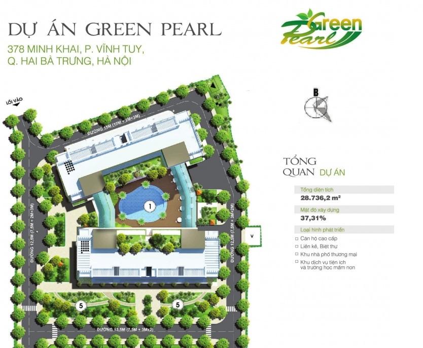 Mặt bằng tổng 2 tòa chung cư Green Pearl - 378 Minh Khai