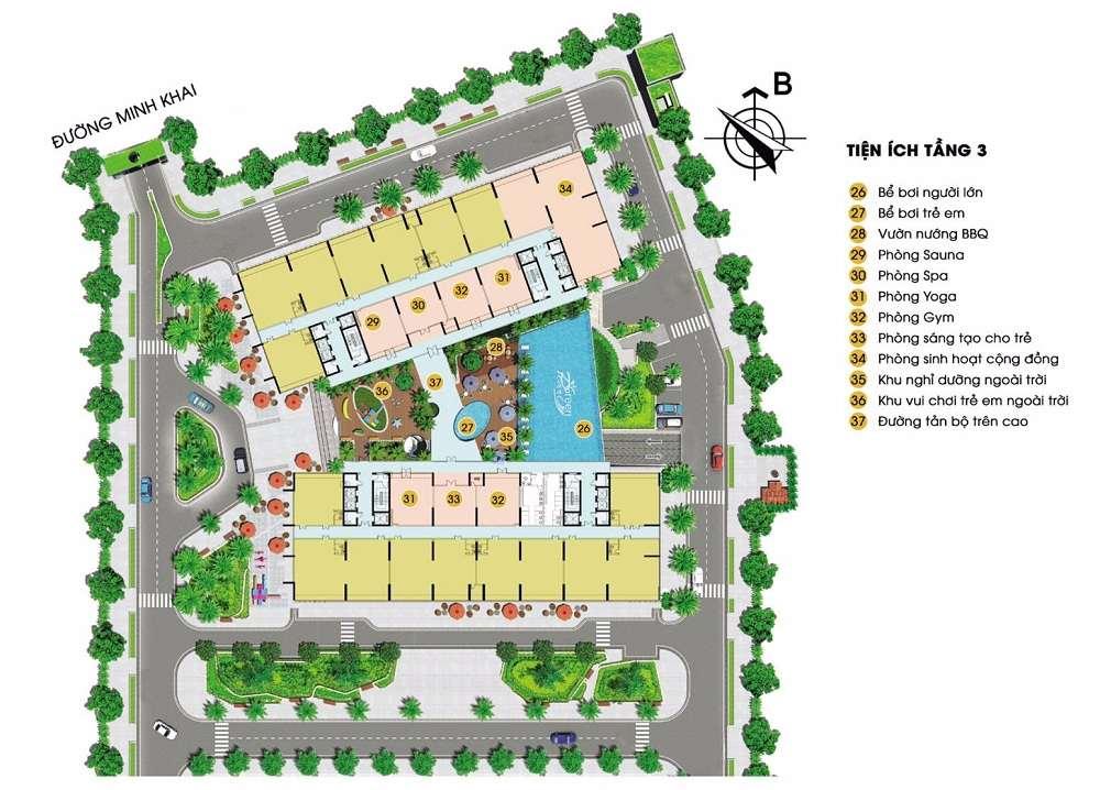 Hệ thống tiện ích tầng 3 dự án Green Pearl Minh Khai