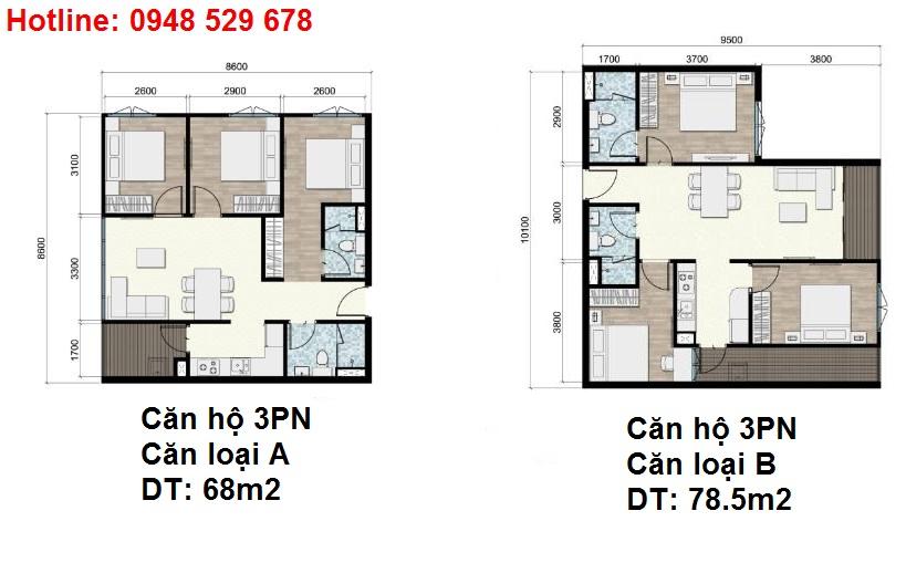 Mặt bằng chi tiết căn hộ 3PN dự án Areca Garden