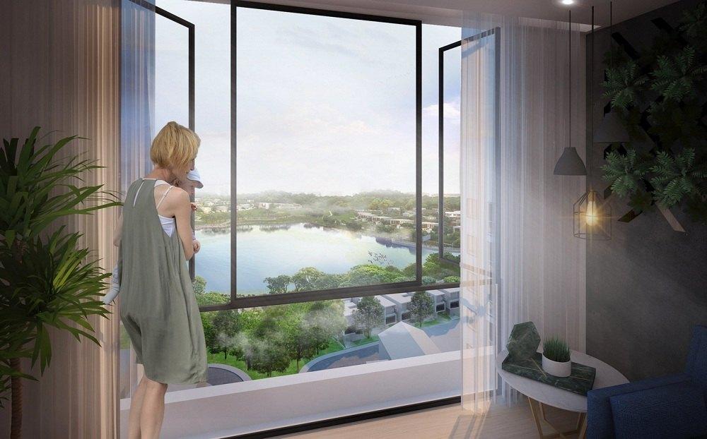 Tầm view thoáng đã trực diện hồ điều hòa tại chung cư Areca Garden
