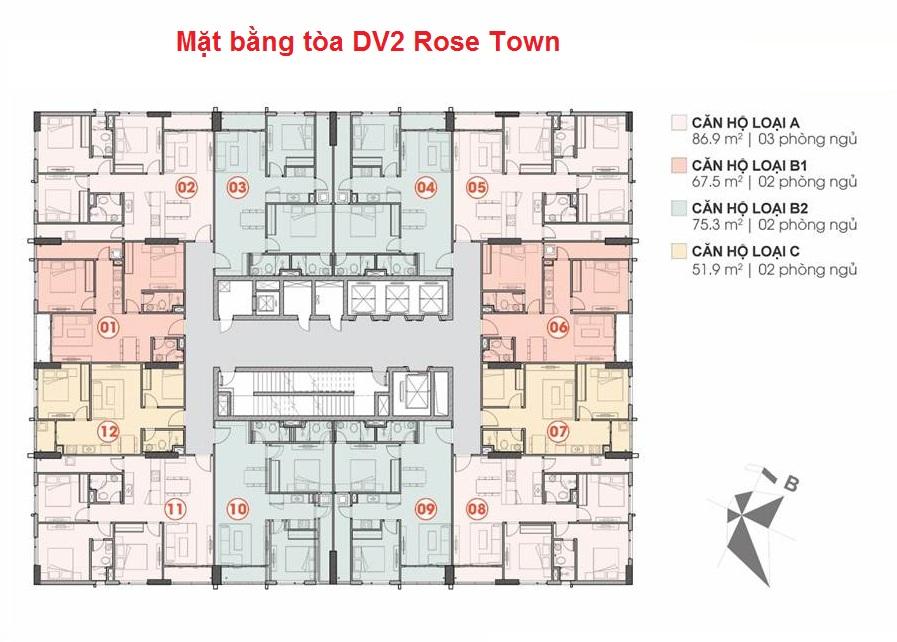 Mặt bằng tòa DV2 chung cư Rose Town