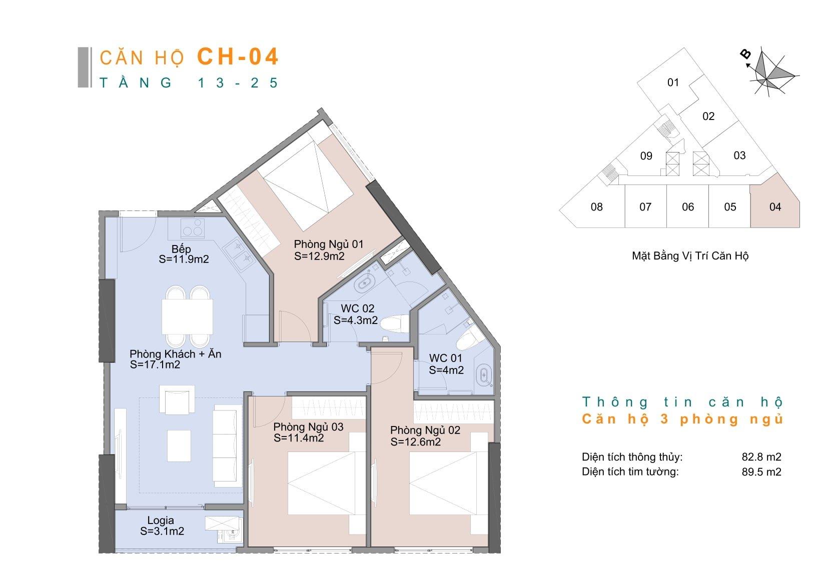 Căn hộ CH4 chung cư Trinity Mễ Trì